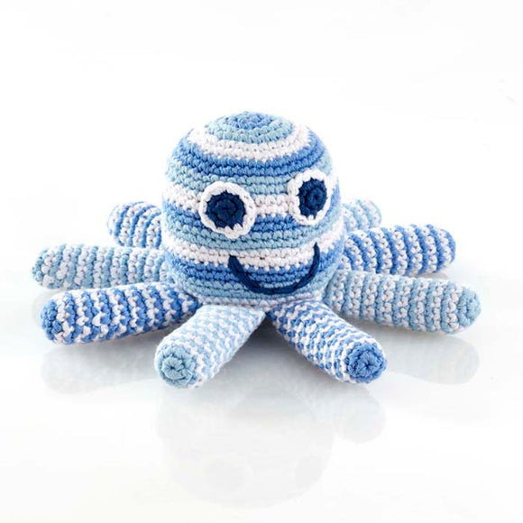 blue stripe crochet cotton octopus baby rattle