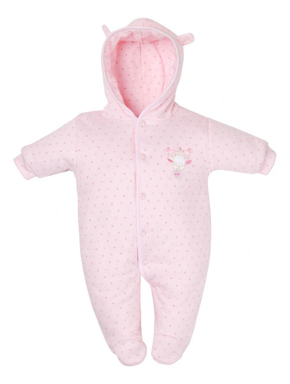 Pink Cotton Premature Baby Pramsuit
