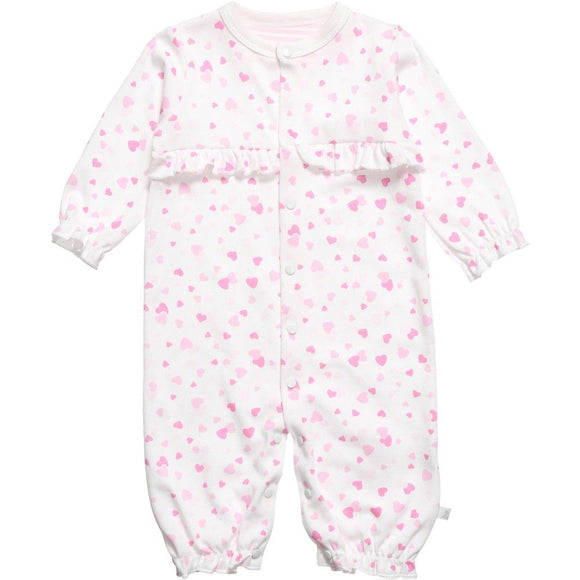 confetti hearts cotton baby romper designed and manufactured in the united kingdom for teddy and me