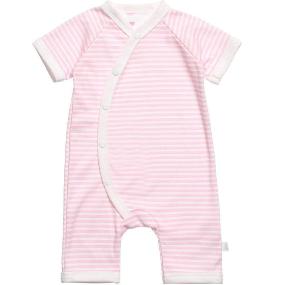 pink stripe baby romper designed and manufactured in the united kingdom for teddy and me