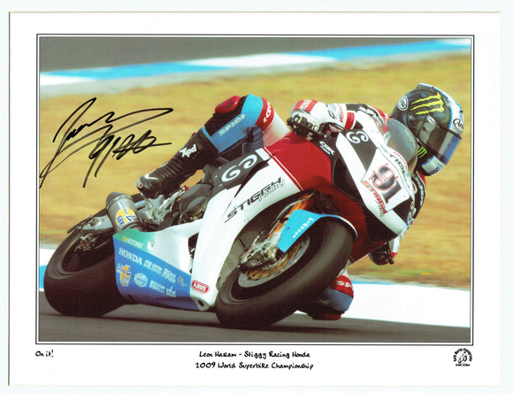 Leon Haslam - Ducati - World Super-Bikes - 16 x 12 Mounted Autographed Print