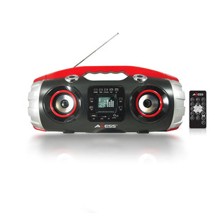 AXESS PBBT2709RD Portable Bluetooth FM Radio CD MP3 USB Heavy Bass Boombox Red