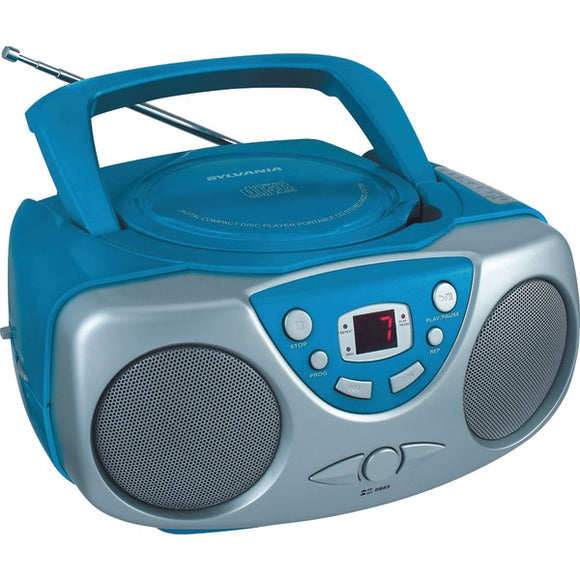 Sylvania SRCD243 Portable CD Player with AM/FM Radio Blue Boombox