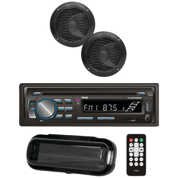 Pyle PLCDBT75MRB Marine CD AM/FM Receiver w/ 2 6.5