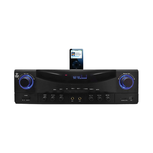 Pyle PT4601AIU 500 Watt Stereo Receiver AM-FM Tuner/USB/SD/Ipod Docking Station & Subwoofer Control