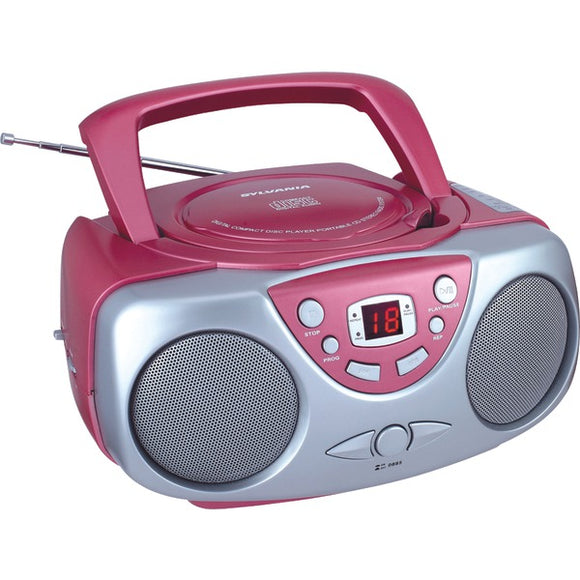 Sylvania SRCD243 Portable CD Player with AM/FM Radio Pink Boombox