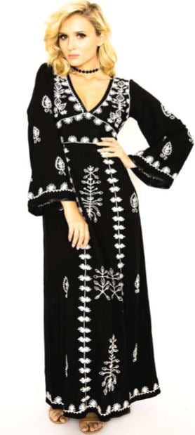 Black and white maxi dress from Zaimara front view
