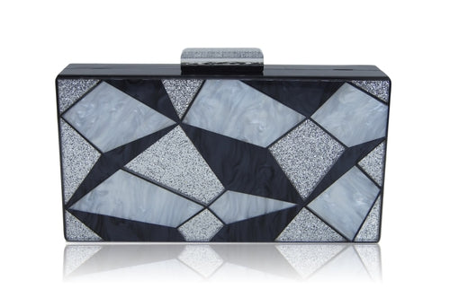 Black and silver geometric clutch