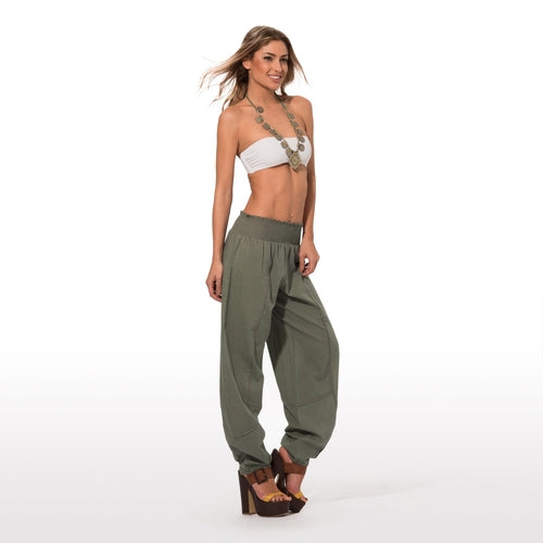 Khaki casual relaxed fit pants side view