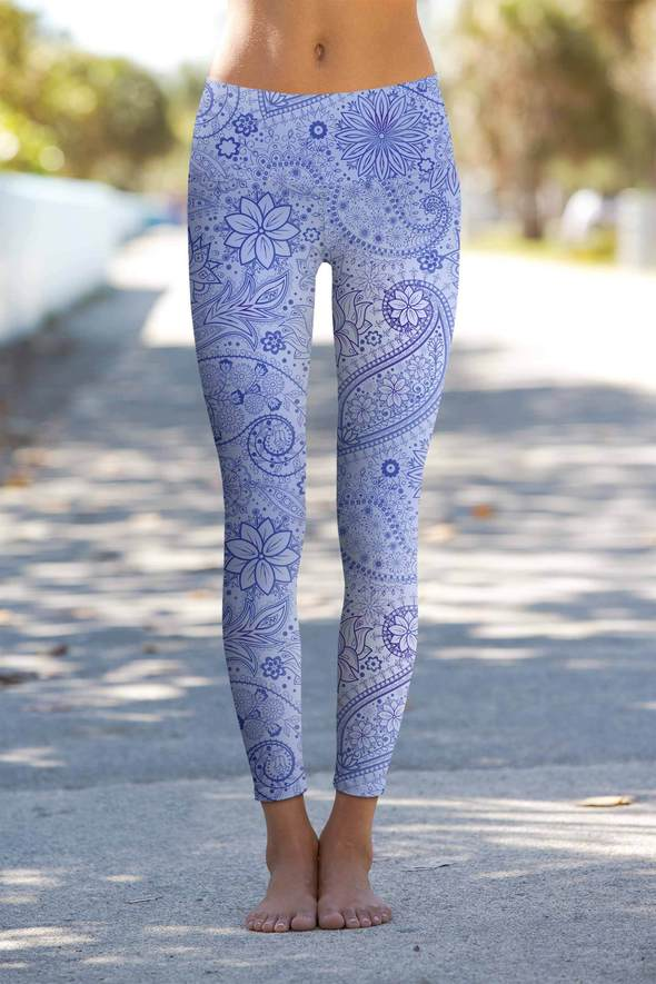 Light and dark blue yoga leggings outside view