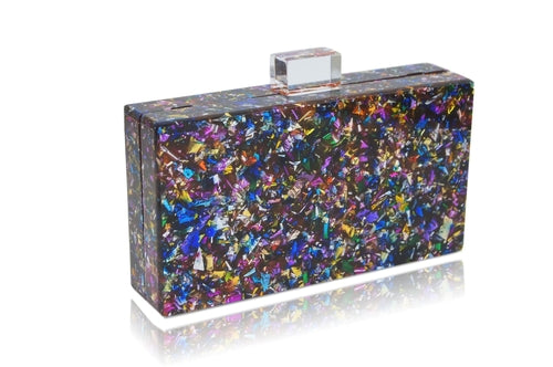 Multi-colored box clutch side view