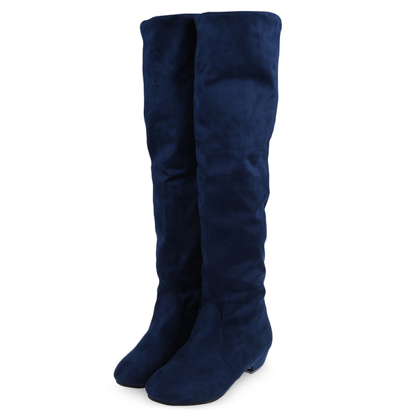 Vintage Pure Color Round Toe Ladies Knee Boots -  AboutTheSHOES
