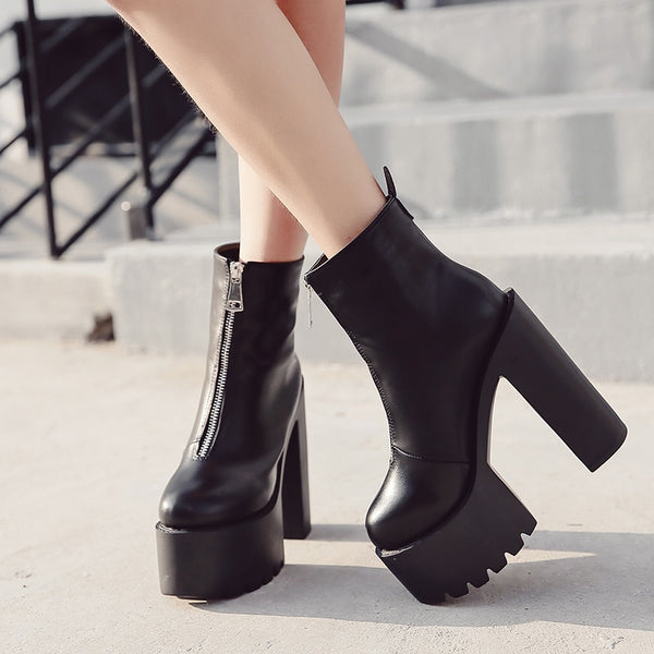 Ankle Boots High Heels Ultra High Platform Heels Round Toe -  AboutTheSHOES