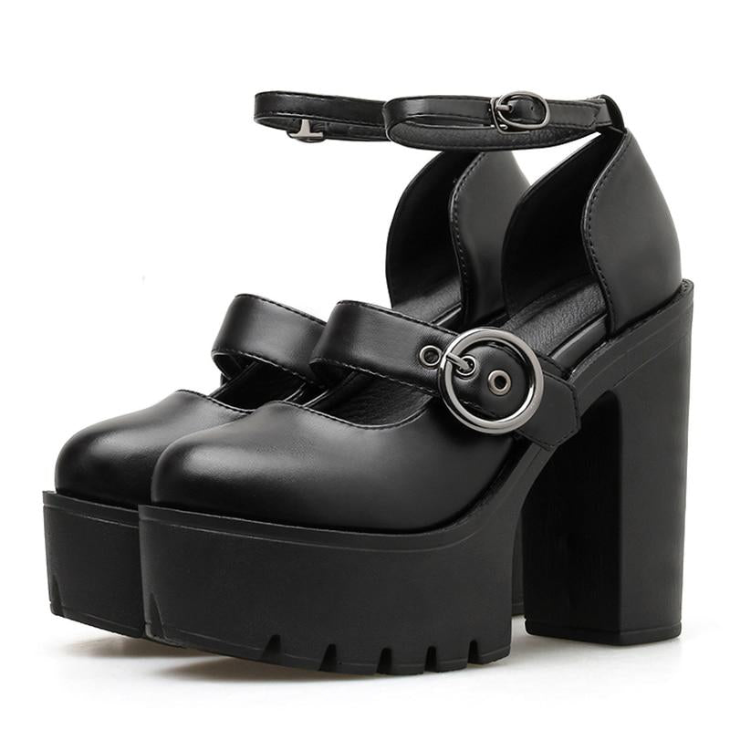 Fashion Sexy Buckle Ladies Shoes Ankle Strap Round Toe -  AboutTheSHOES