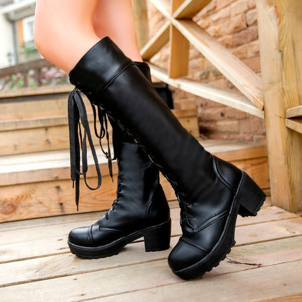 Square Heel Lace Up Knee High Boots -  AboutTheSHOES