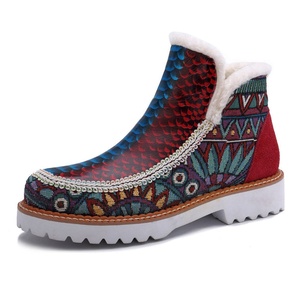 Bohemian Slip On Fleeces Ankle Boots -  AboutTheSHOES