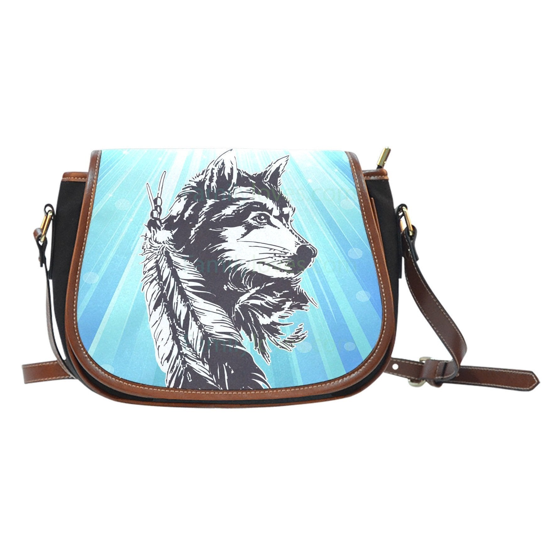 NATIVE AMERICAN WOLF SADDLE BAGS