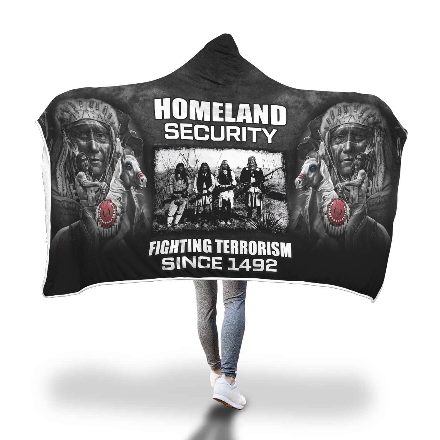 Buy Homeland security fighting terrorism since 1492 Hooded Blanket - Familyloves hoodies t-shirt jacket mug cheapest free shipping 50% off