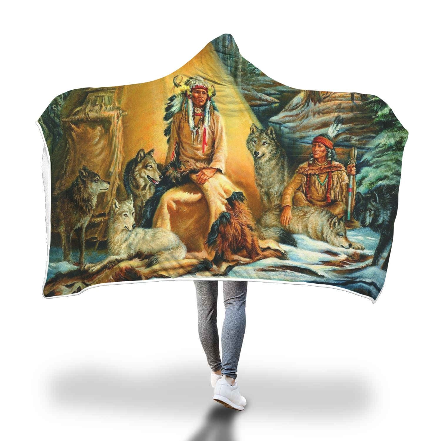 NATIVE AMERICAN ARCHIVES HOODED BLANKET