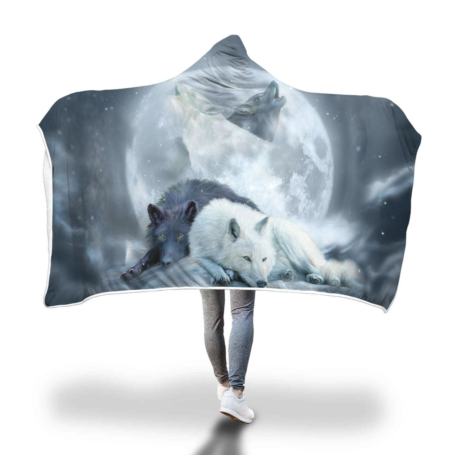 The wolf native American hooded blanket