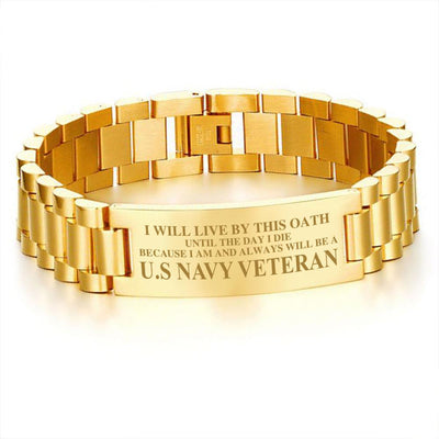 Buy I will live by this oath until the day I die because I am and always will be a u.s navy veteran men's bracelets - Familyloves hoodies t-shirt jacket mug cheapest free shipping 50% off