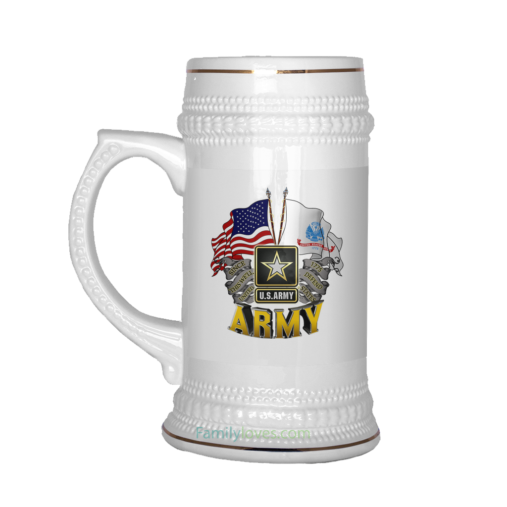 Buy U.S.ARMY, SINCE 1775, THIS WE'LL DEFEND BEER STEIN - Familyloves hoodies t-shirt jacket mug cheapest free shipping 50% off