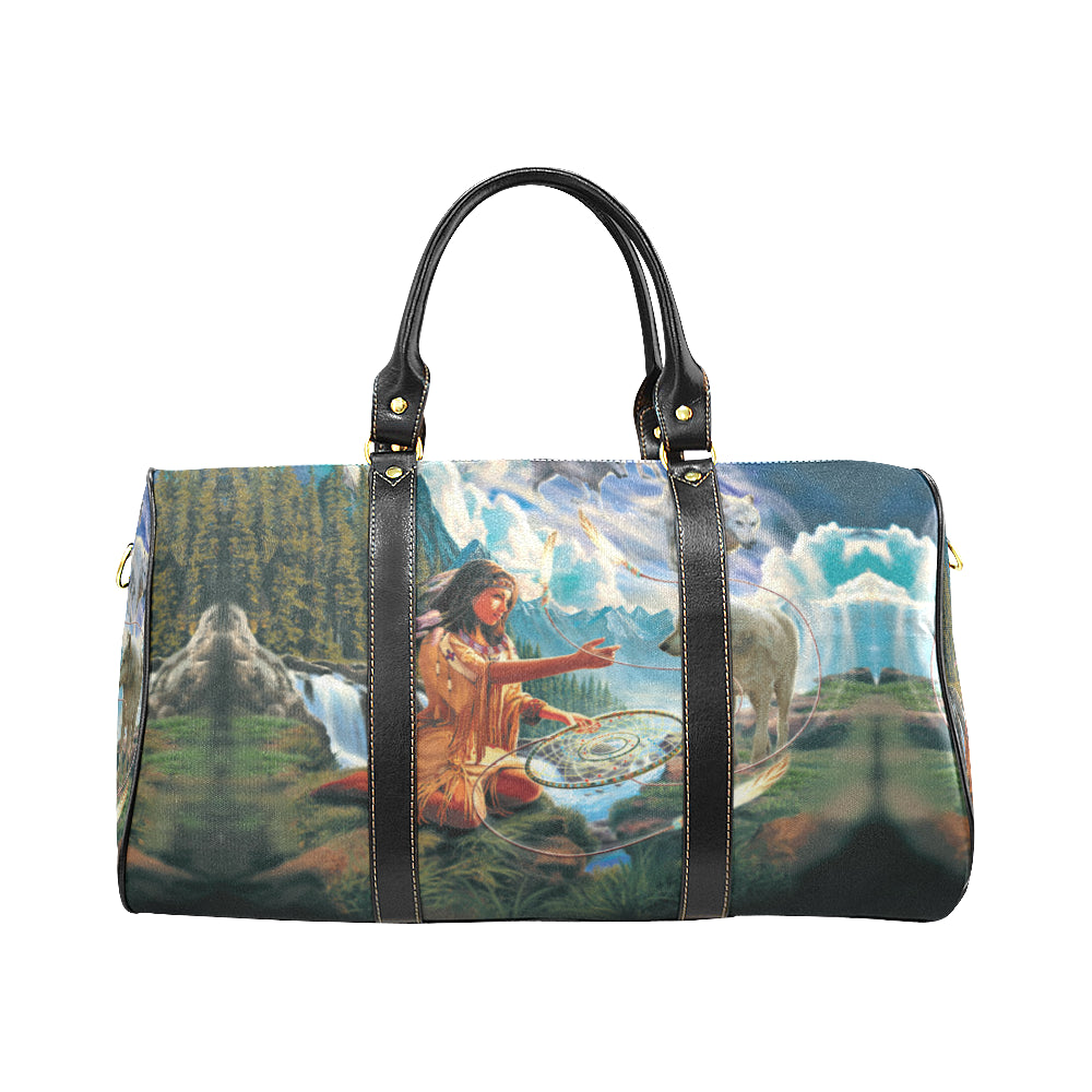 5D diamond painting native woman with dreamcatcher and wolves Travel Bag