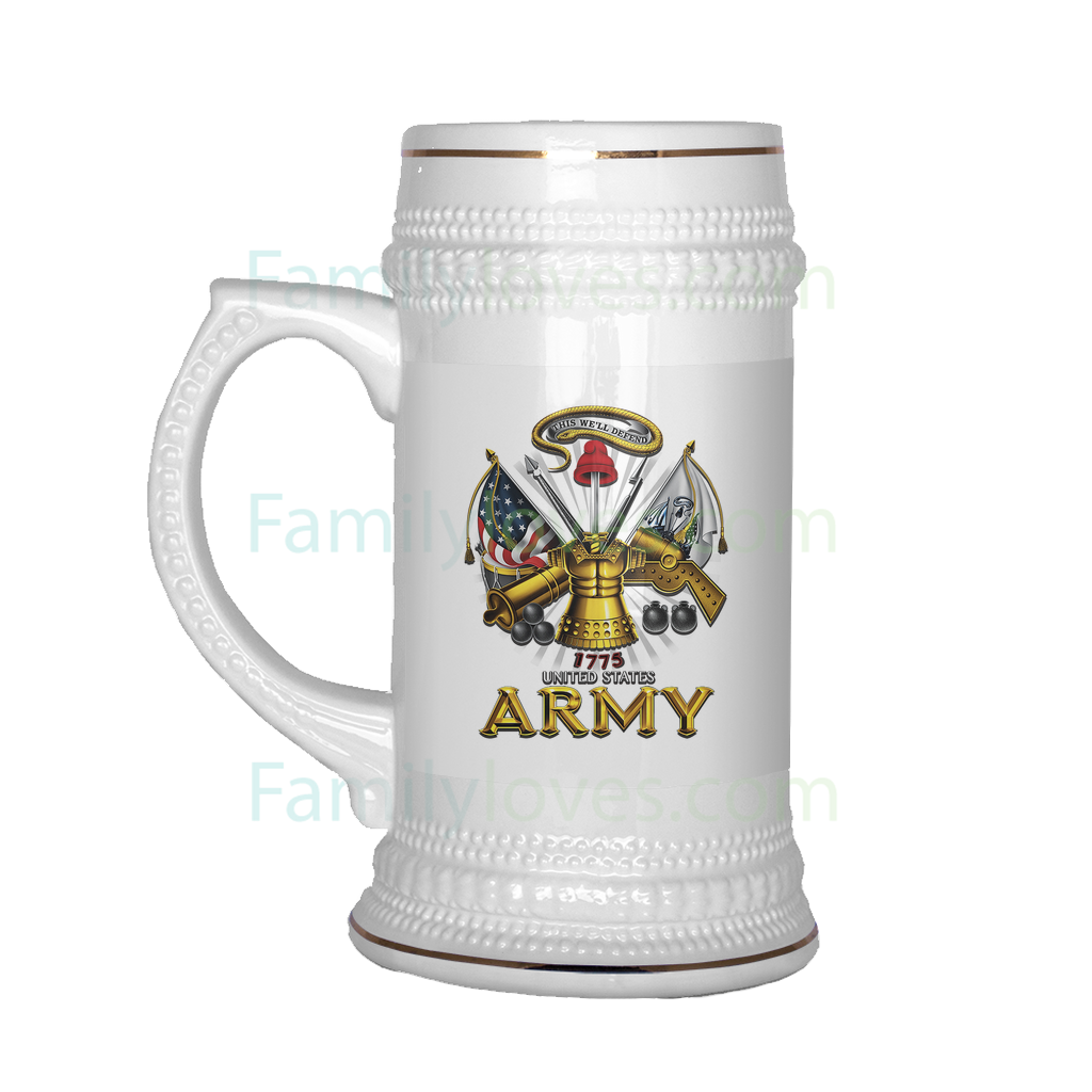 Buy UNITED STATES ARMY 1775 THIS WE'LL DEFEND BEER STEIN - Familyloves hoodies t-shirt jacket mug cheapest free shipping 50% off