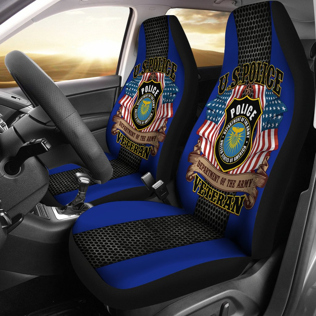 U.S police department of the army veteran car seat cover
