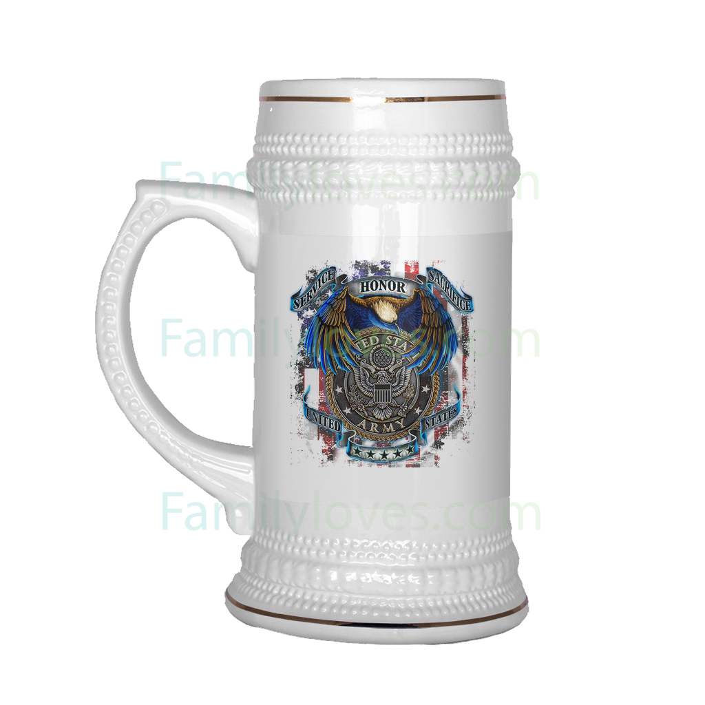Buy US ARMY SERVICE HONOR SACRIFICE BEER STEIN - Familyloves hoodies t-shirt jacket mug cheapest free shipping 50% off