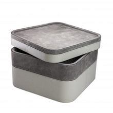 Load image into Gallery viewer, Grey Square Suede Stacking Tray 4