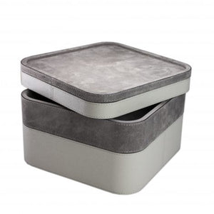 Grey Square Suede Stacking Tray 4