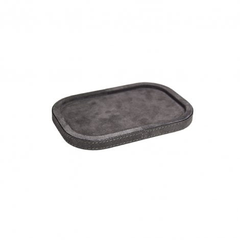 Dark Grey Small Rectangular Suede Stacking Tray