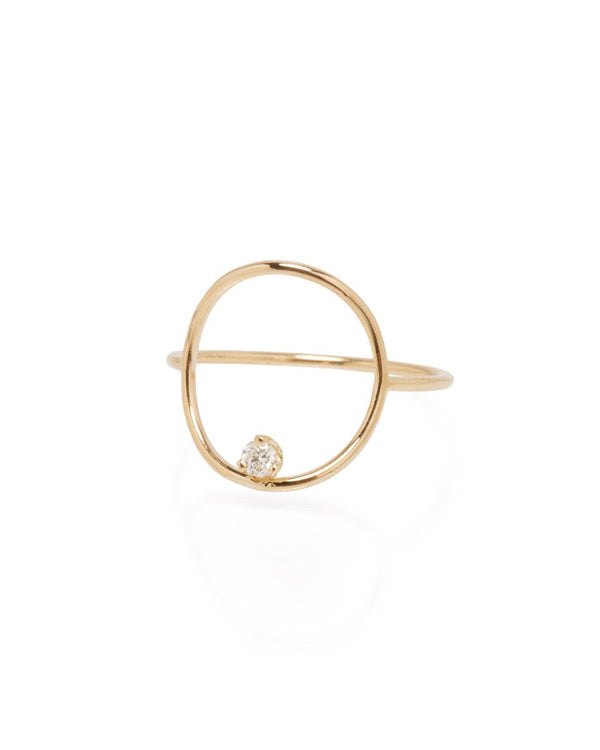 DIAMOND MEDIUM CIRCLE GOLD RING - FAIRYDUST_JEWELRY