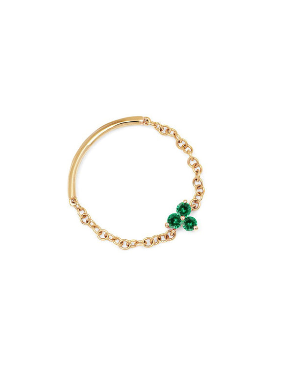 EMERALD TRIO CHAIN RING - FAIRYDUST_JEWELRY