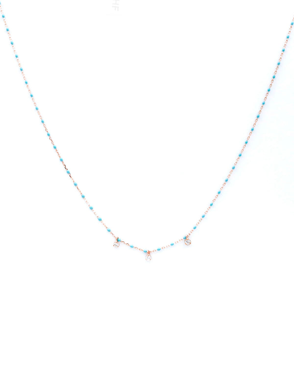 COLLIER MINI  PEARL TURQUOISE 3 DIAMONDS - FAIRYDUST_JEWELRY