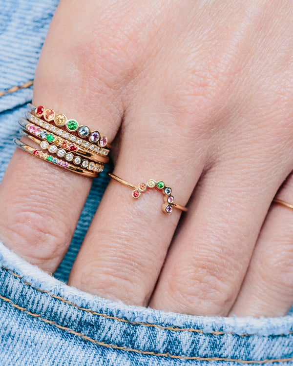 SMALL RAINBOW SAPPHIRES ARC RING - FAIRYDUST_JEWELRY