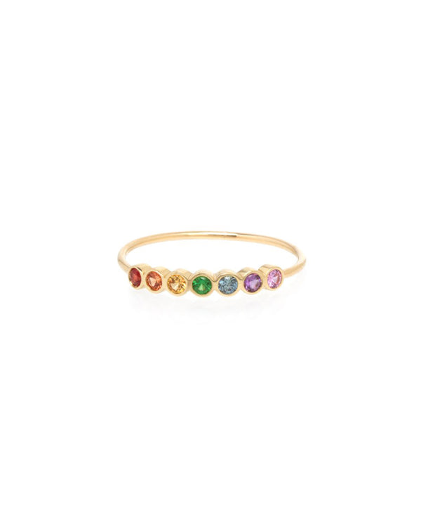 7 RAINBOW SAPPHIRES GOLD RING - FAIRYDUST_JEWELRY