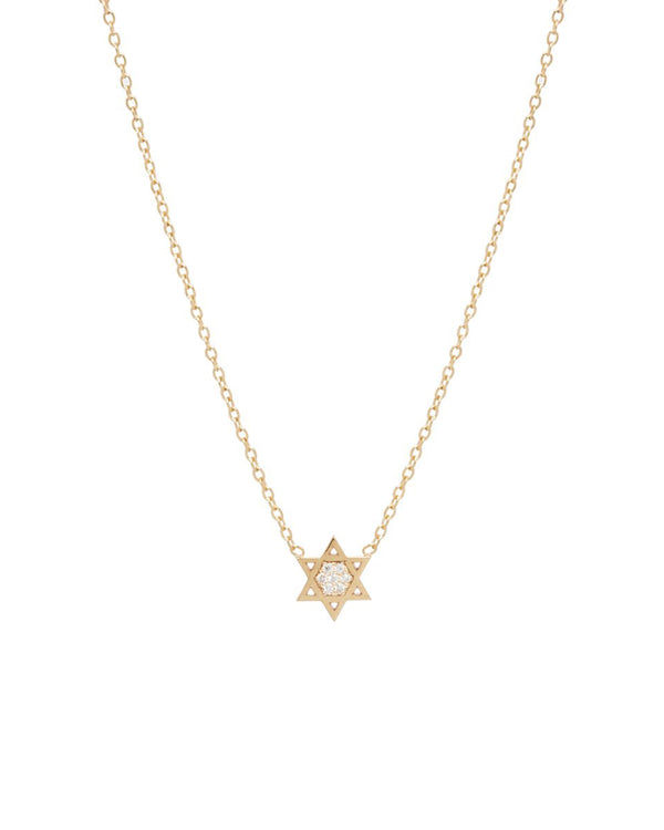 MIDI BITTY PAVE STAR OF DAVID NECKLACE - FAIRYDUST_JEWELRY
