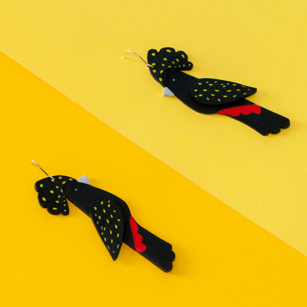 Red-Tailed Black Cockatoo Earrings