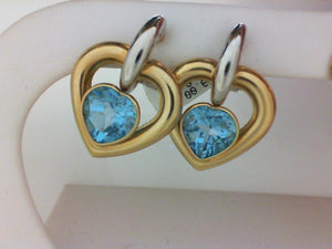 14KT TT DBL HEART BLUE TOPAZ EARRINGS