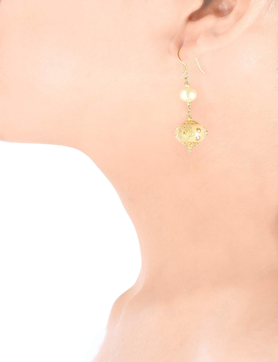 Silvet Gold Plated Handcrafted Golden Bead Earrings With Pearl