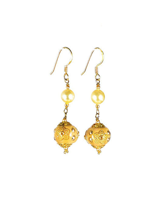 Handcrafted Golden Bead & Pearl Earrings with 925 Sterling Silver Hooks