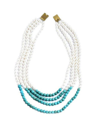 Strands Of Time Pearl Necklace With Turquoise