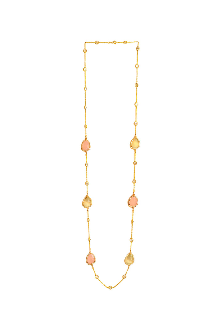 Long Necklce in yellow silver with colored stones