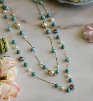 Handcrafted Embedded Flower Bead Long Necklace with Turquoise & Pearls in 925 Sterling Silver Chain