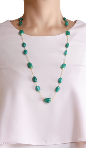 Silver Gold Plated Green Quartz Beaded Necklace