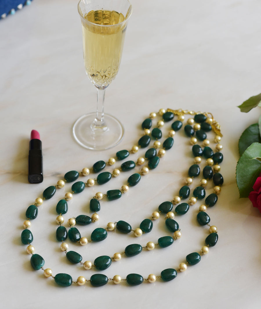 Pearl Necklace with Green/Blue Quartz