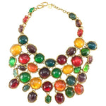 Yves Saint Laurent Haute Couture Runway Chunky Colourful Resin Gem Bib Necklace - 1989