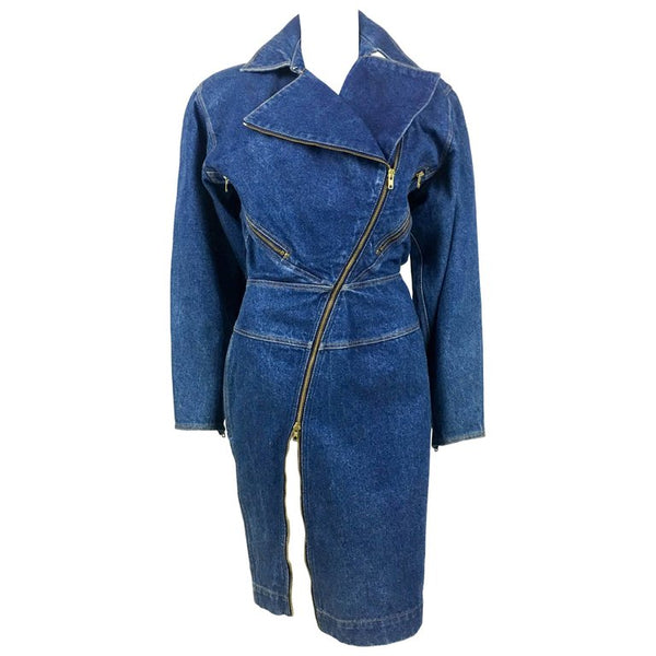Azzedine Alaia Blue Denim Zipper Dress - Circa 1985